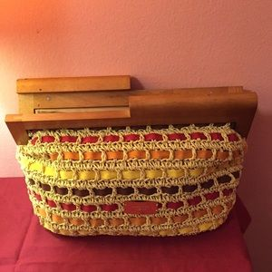 Nine West multi color wheat straw clutch bag